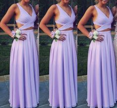 Beautiful Lavender Two Piece Chiffon Prom Dresses, Long Two Piece Party Dresses, Evening Dresses
