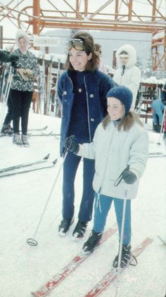 Jackie and her daughter Caroline on the trails, 1966