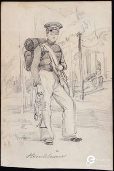 """Trumpeter"", young soldier with backpack and instrument. Drawing in pencil by Fritz von Dardel, 1840/1850. Courtesy Nordiska museet, public domain."