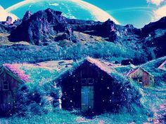 #cottage #cabin #mountains #fairytale #fairytaeles #turquoise #purple #fantasy #planets #universe #space #fireflies Alien Worlds, Cottage, Collage Artists, Fantasy, Surreal Art, Digital Collage, Art Day, Planets, Fairy Tales