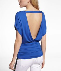 BANDED BOTTOM OPEN BACK TEE | Express