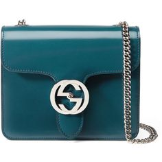 Gucci Interlocking Polished Leather Shoulder Bag (72,755 PHP) ❤ liked on Polyvore featuring bags, handbags, shoulder bags, blue, gucci purses, gucci, chain shoulder bag, gucci shoulder bag and real leather handbags