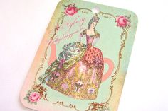Teapot Marie Gift Tags  Set of 6  French Style Tags  by SiriusFun