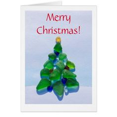 Sea glass, beach glass Christmas Holiday card