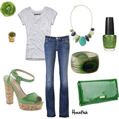 Green overload, I love this color and the peacock feathered bracelet.