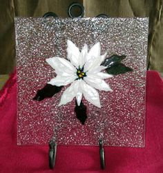 Fused glass Christmas poinsettia platter in Norman, OK.