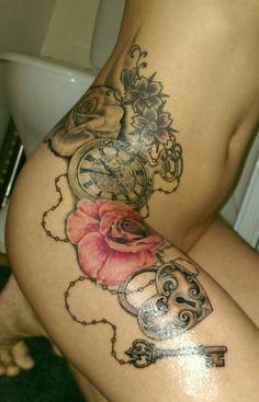 Roses, clock, heartlock & key tattoo