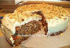 Μια ακόμη συνταγή από την καταπληκτική Σόφη Τσιώπου για ένα λαχταριστό καροτο- κέικ περιχυμένο με λευκό γλάσο ! Pureed Food Recipes, Canning Recipes, Sweets Recipes, Cake Recipes, Greek Sweets, Greek Desserts, Greek Recipes, Donuts, Cheesecake Cake