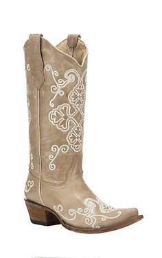 Corral Boot Company Women's Bone Vintage Leather with Tan Embroidered Floral Print Western Snip Toe Boots   Cavender's
