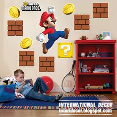 Super Mario wall stickers, Mario kids room designs