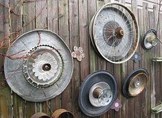 """Metal garden """"junk"""" flowers the-garden-gate"""