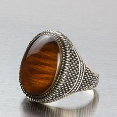 Men 925 Silver Ring Natural Brown Amber Sterling Silver Ring 11.5 US size #JFM #Solitaire