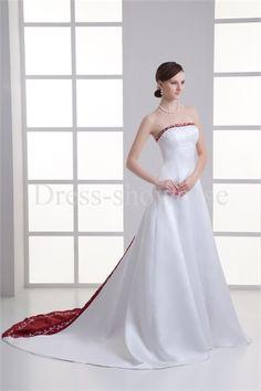 White/Red Pear A-Line Court Train Summer Strapless Wedding Dresses #wedding #weddinggown #weddingdress #dress #fashion #bigday #womenfashion #womenwear #2015wedding