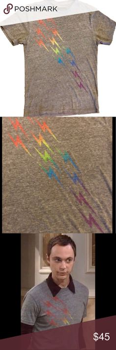 Aviator Nation Rainbow Bolt T-shirt Small/Medium Aviator Nation Rainbow Bolt Tee.   Men's small, fits small to medium.  Grey with multicolored bolts.   As seen on The Big Bang Theory!    Rare T-shirt, hard to find. Aviator Nation Shirts Tees - Short Sleeve