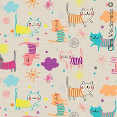 Happy kittens pattern Gina Maldonado ©