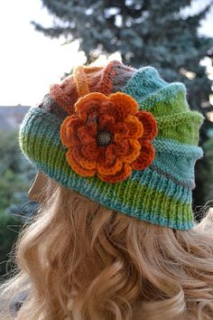 Knitted flower cap  hat lovely warm autumn by DosiakStyle on Etsy