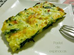 """Pastel de espinacas"" Spinach Recipes, Vegetarian Recipes, Healthy Recipes, Veggie Dishes, Food Dishes, Salada Light, Kitchen Recipes, Cooking Recipes, Food Goals"
