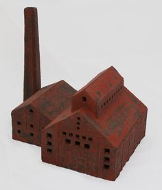 Factory José van den Tweel, Clay finished with engobe, Ceramic Boxes, Ceramic Art, Wooden Castle, Gift For Architect, Sculpture Clay, Ceramic Sculptures, Colour Architecture, Architectural Sculpture, Clay Houses
