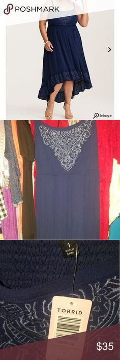 50a398cb3f Embroidered gauze hi low dress Navy blue with embroidery around the  neckline and bottom. Size