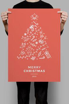 Minimal icon christmas flyer template.