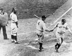 Babe Ruth after calling his shot in 1932 against the Cubs' Charlie Root