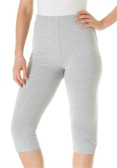 Plus Size Leggings, capri length in stretch knit