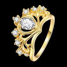 48e1e5a62e2d Aliexpress.com  Comprar Voor Vrouwen Anillo Anillos Corona Para Niñas  Ringen Antiek Goud Zilver Joyería Moda Mujer Blanco Plateado Circón  RingR231 de crown ...