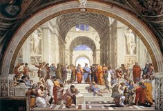 La escuela de Atenas es una de las pinturas más famosas del artista Rafael Sanzio.  Ubicación: Estancias de Rafael Género: Pintura de historia Tema: Antigua Grecia Tamaño: 5,0 m x 7,7 m Técnica: Pintura, Yeso