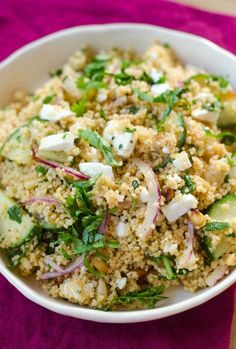 Couscous Salad with Cucumber, Red Onion, & Herbs. We brought this with us to an island picnic this weekend and it was perfect. I'll make it with quinoa next time for an added boost of protein.