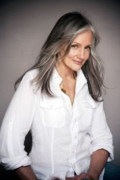 Natural grey hair. This colour is authentic and beautiful and is more likely to be healthy because there are no chemicals on it!