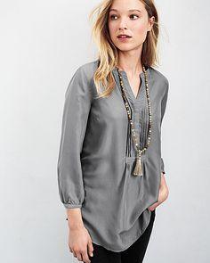 Silk Pintuck-Detail Tunic