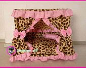 Code DB-01 Gorgeous Luxury Princess Pet Dog Cat Puppy Bed House Pink white Dot Sz XLarge 31.49''x19.6''x31.49'' Made to Order. $150.00, via Etsy... for my Kitty Girl