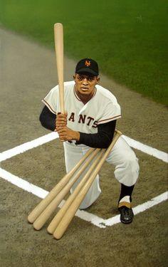 """Willie Mays at the Polo Grounds"" by Arthur K Miller, 2004 Sports Images, Sports Photos, Sports Art, Major League Baseball Teams, Mlb Teams, Baseball Painting, Giants Players, Polo Grounds, Willie Mays"