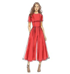 Jumpsuits and wide-leg pants are hot for this spring. We can see this new Vogue Pattern looking so chic in lightweight stretch denim. Sew V9075.