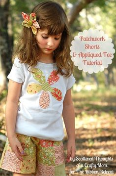 Scattered Thoughts of a Crafty Mom: Patchwork Shorts and Appliqued Tee Tutorial