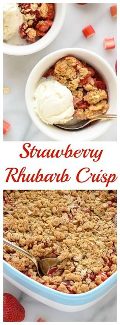 Strawberry Rhubarb Crisp with Oatmeal Cookie Topping. Sweet and buttery with an addictive crumb topping and fresh filling. Perfect Mother's Day dessert recipe! Find the recipe at www.wellplated.com @wellplated