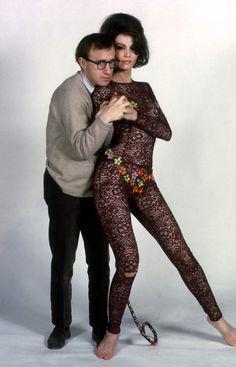 """What's New, Pussycat?"" - Woody Allen & Paula Prentiss - Directed by Clive Donner - Production Still - United Artists. Woody Allen, Ingrid Bergman, Marlon Brando, Sophia Loren, Elizabeth Taylor, What's New Pussycat, Cinema Tv, Hooray For Hollywood, Original Movie Posters"