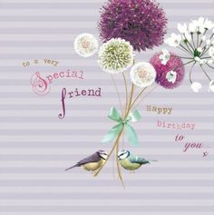 Candy-coloured, with a hint of vintage. Floral #Birthday card from our Birdsong range.