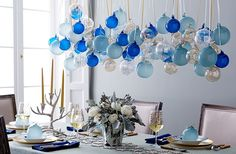 This impressive ornament display is a true showstopper—and it's easier to achieve than it looks! Vintage Ornaments, Holiday Ornaments, Glass Ornaments, Christmas Crafts, Christmas Decorations, Blue Christmas, Xmas, Christmas Centerpieces, Christmas 2016