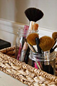 Mason jars makeup storage