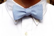 Men's wedding attire - Blue and white seersucker bowtie