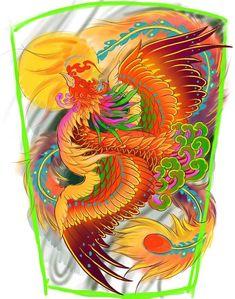 Japanese Pheonix Tattoo, Japanese Back Tattoo, Japanese Koi Fish Tattoo, Phoenix Design, Phoenix Tattoo Design, Badass Tattoos, Body Art Tattoos, Fenix Tattoos, Phoenix Back Tattoo