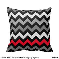 Black & White Chevron with Red Stripe Pillow