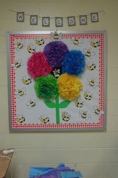 Flower with bees on bulletin board