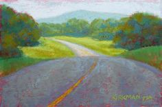 Road Sketch by Rita Kirkman Pastel ~ 4 x 6 inches Small Paintings, Fine Art Gallery, Art For Sale, Still Life, Scene, Clouds, Artwork, Artist, Sketch