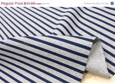 Japanese Fabric Spacer Knit - reversible stripes - navy on gray - 50cm