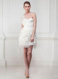 Robes de mariée - $149.89 - Forme Fourreau Encolure asymétrique Court/Mini Satiné Tulle Robe de mariée avec Plissé Emperler (00205001633)