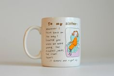Vintage, Funny Hallmark, Coffee Cup Mug,To my sister,Ceramic mug,Ceramic Cup,Sister Cup by HoneyQueenBee on Etsy