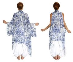 This unique Kimono features:  Hand painted and digitally printed art of detailed small florals. The vest is hand made from quality modal (rayon)/cotton material, super soft and flowy. This easy, breezy, effortless wrap is perfect thrown over denim and a tank, over bikini or layered with sweaters and tops. Can be worn in two ways - as a classic kimono or sleeveless. Superb comfort, wont cling to your skin  Its a piece of art, not mass produced factory work- totally artsy sexy & uniqu...