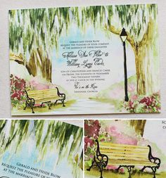 Enchanting oaks trees with a pretty bench and light pole in historic Savannah, Georgia.  #momentaldesigns  #kristyrice  #handpaintedinvite  #watercolorwedding  #artisticinvite  #treeinvite